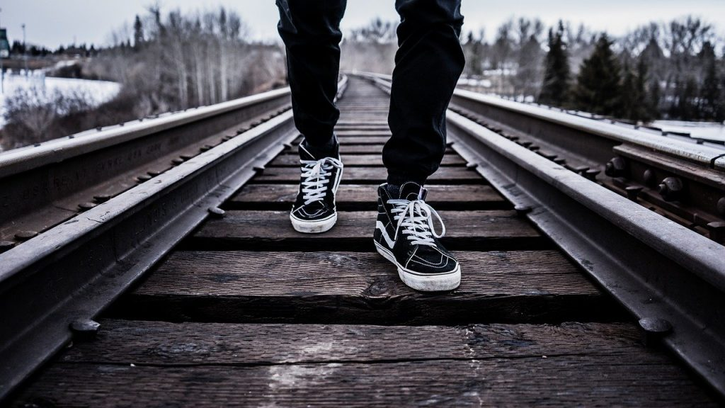 shoes, walking, railroad tracks